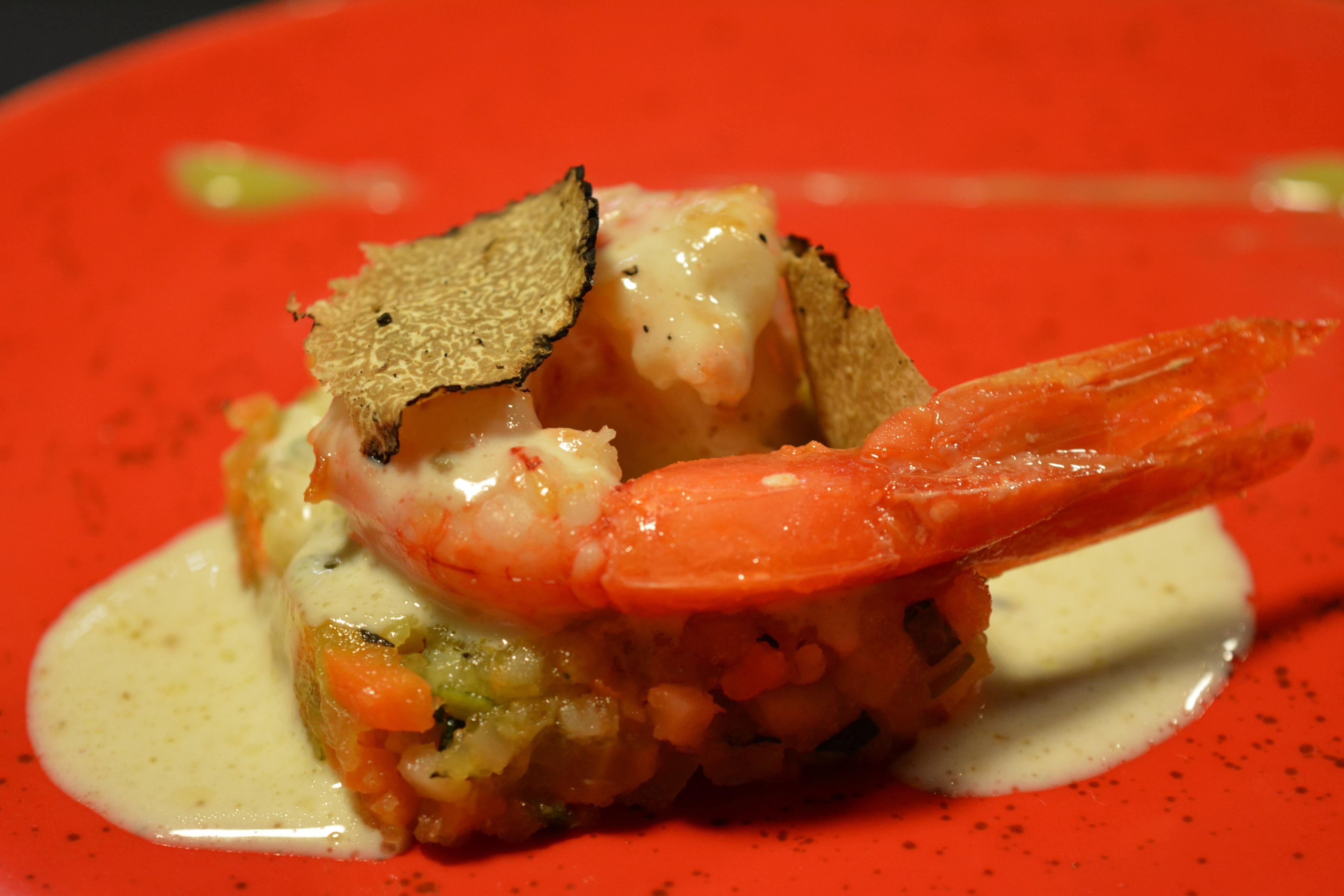 Sabir Gourmanderie Gambero Rosso di Mazara con fonduta di ragusano DOP e tartufo dell'Etna